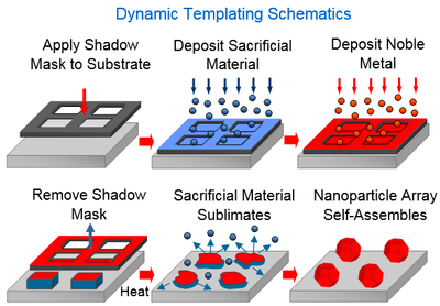 Schematics showing Au template formation using dynamic templating.