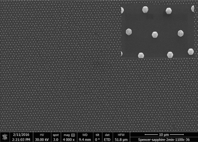 SEM image of a periodic array of Au nanostructures formed by combining dynamic templating and nanoimprint lithography.